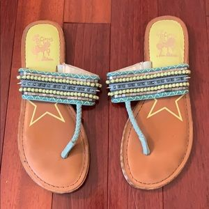Teal and green sandals